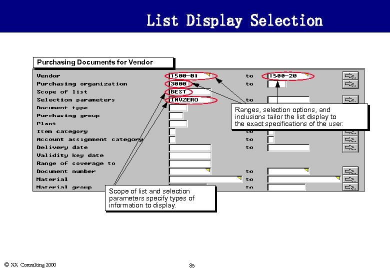 List Display Selection Purchasing Documents for Vendor Ranges, selection options, and inclusions tailor the