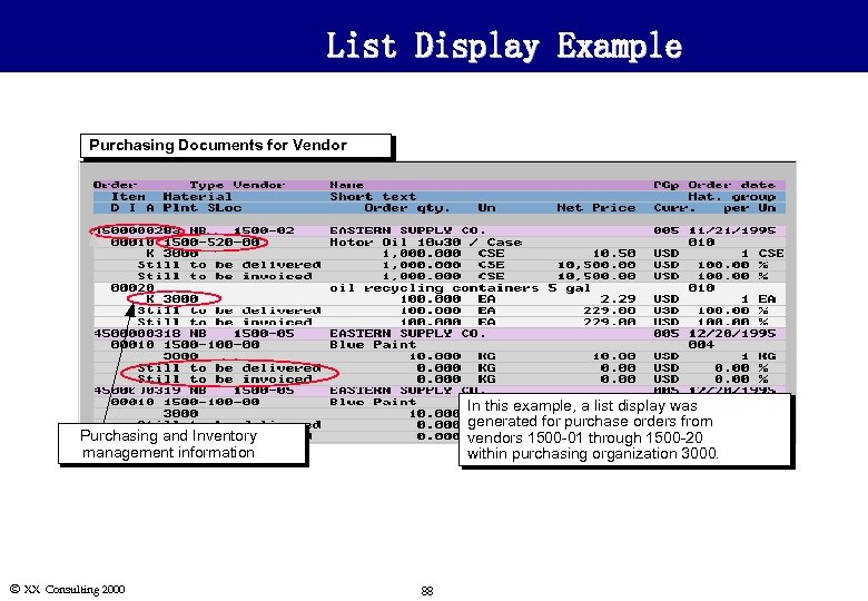 List Display Example Purchasing Documents for Vendor In this example, a list display was
