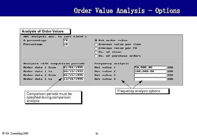 Order Value Analysis - Options Analysis of Order Values Frequency analysis options Comparison periods