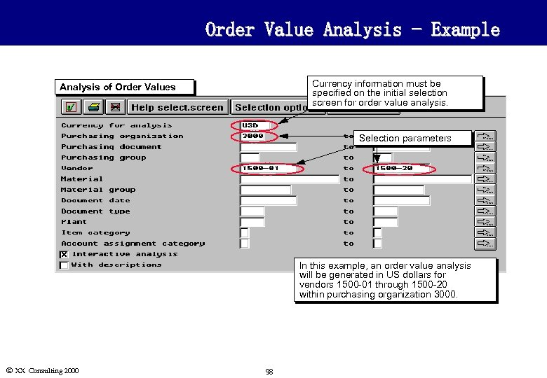 Order Value Analysis - Example Currency information must be specified on the initial selection
