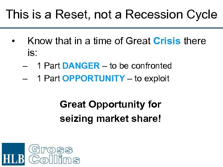 This is a Reset, not a Recession Cycle • Know that in a time