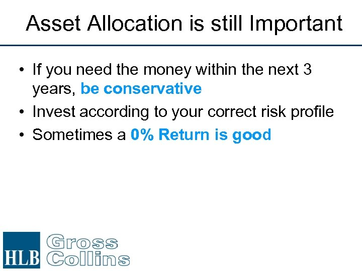 Asset Allocation is still Important • If you need the money within the next