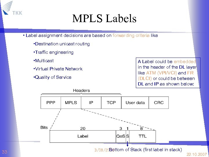 MPLS Labels • Label assignment decisions are based on forwarding criteria like • Destination