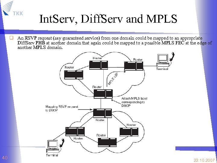 Int. Serv, Diff. Serv and MPLS q An RSVP request (say guaranteed service) from