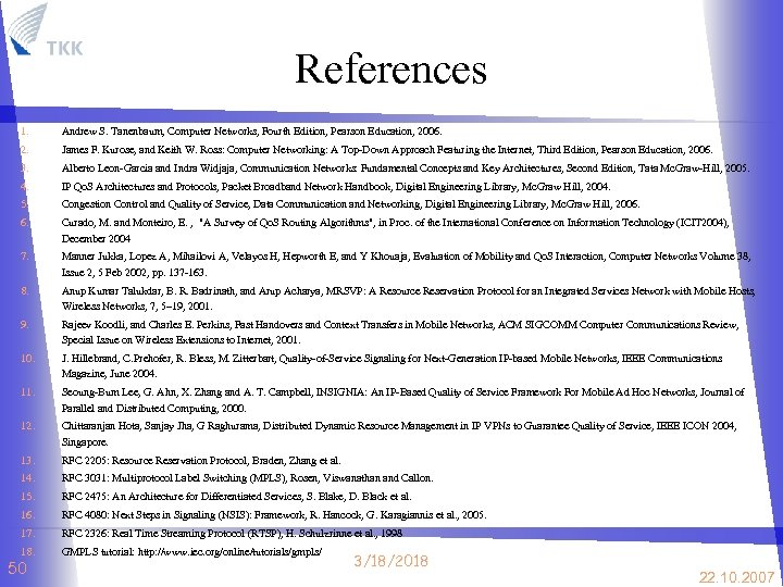 References 1. Andrew S. Tanenbaum, Computer Networks, Fourth Edition, Pearson Education, 2006. 2. James