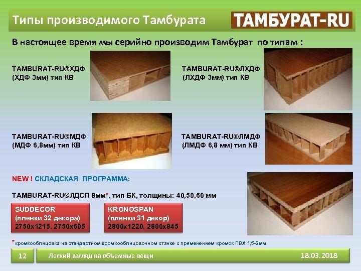 Типы производимого Тамбурата В настоящее время мы серийно производим Тамбурат по типам : ТAMBURAT-RU®ХДФ