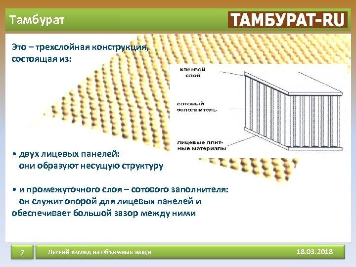 Тамбурат Это – трехслойная конструкция, состоящая из: • двух лицевых панелей: они образуют несущую