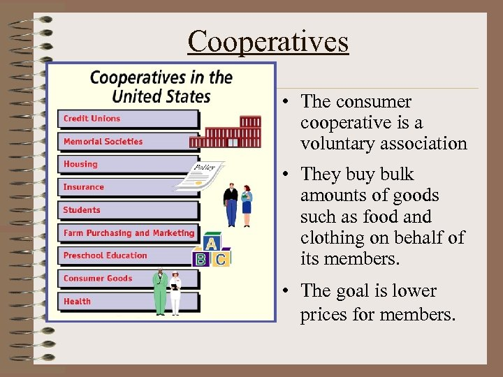 Cooperatives • The consumer cooperative is a voluntary association • They bulk amounts of