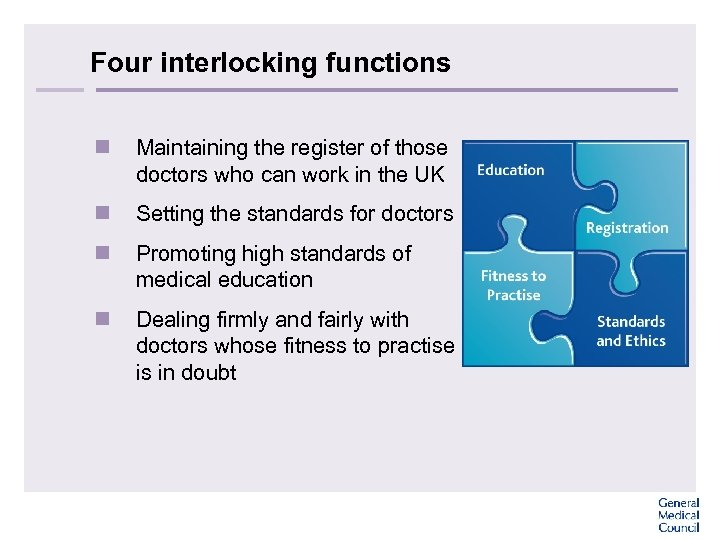 Four interlocking functions n Maintaining the register of those doctors who can work in