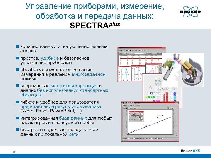 Управление приборами, измерение, обработка и передача данных: SPECTRAplus количественный и полуколичественный анализ простое, удобное