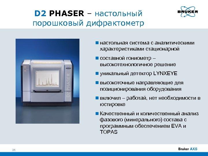 D 2 PHASER – настольный порошковый дифрактометр настольная система с аналитическими характеристиками стационарной составной