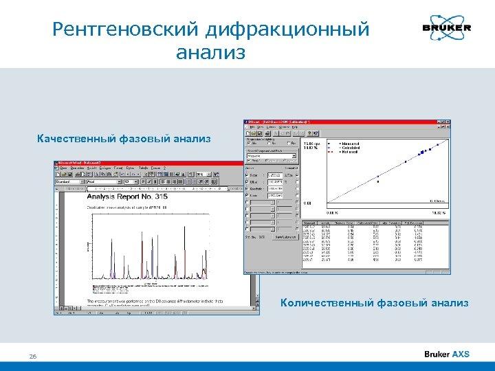 Рентгеновский дифракционный анализ Качественный фазовый анализ Количественный фазовый анализ 26