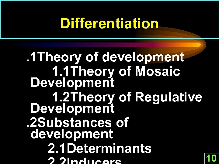 Differentiation. 1 Theory of development 1. 1 Theory of Mosaic Development 1. 2 Theory