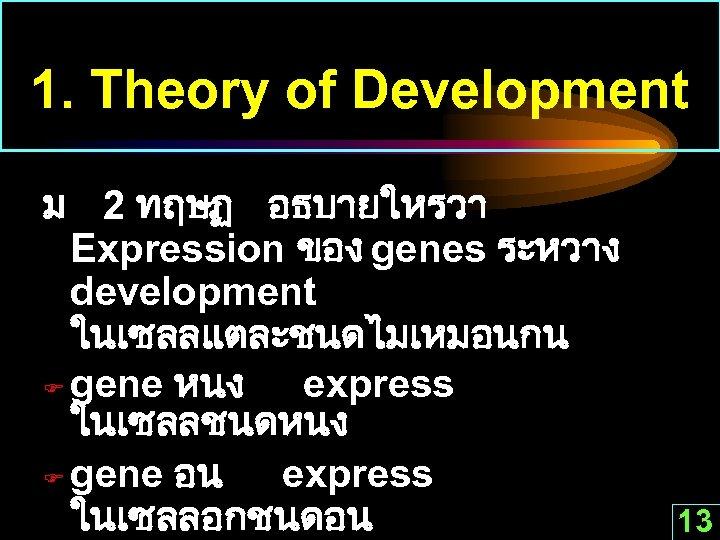 1. Theory of Development ม 2 ทฤษฏ อธบายใหรวา Expression ของ genes ระหวาง development ในเซลลแตละชนดไมเหมอนกน