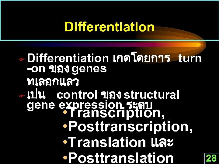 Differentiation เกดโดยการ turn -on ของ genes ทเลอกแลว F เปน control ของ structural gene expression