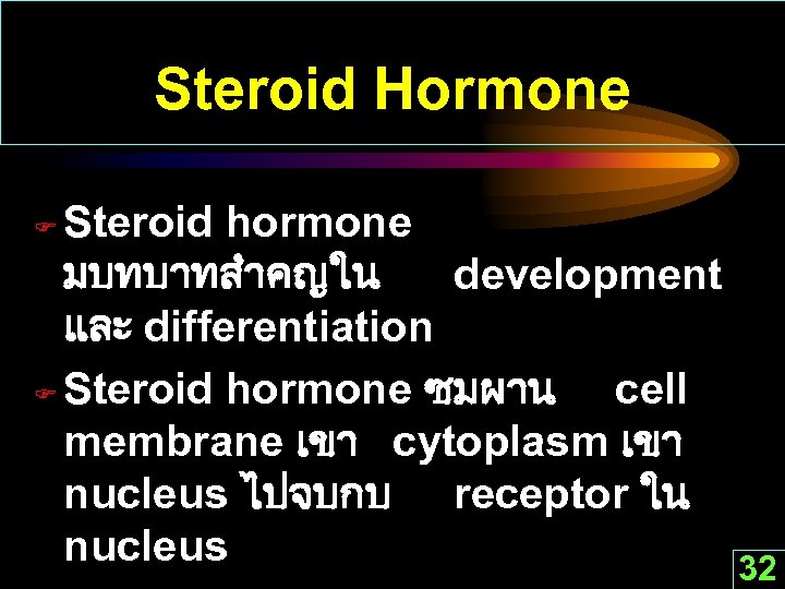 Steroid Hormone Steroid hormone มบทบาทสำคญใน development และ differentiation F Steroid hormone ซมผาน cell membrane