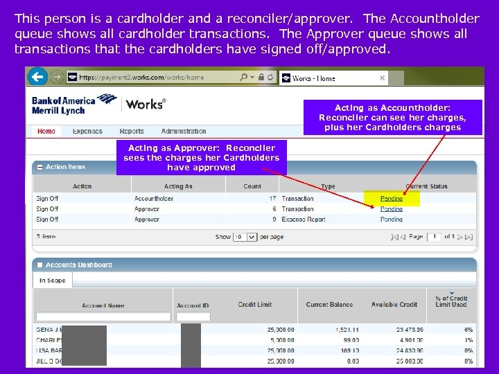 This person is a cardholder and a reconciler/approver. The Accountholder queue shows all cardholder