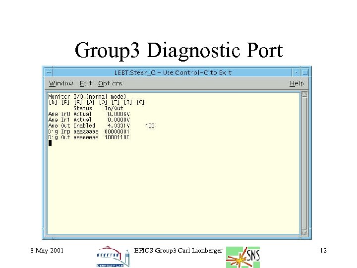 Group 3 Diagnostic Port 8 May 2001 EPICS Group 3 Carl Lionberger 12