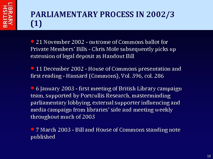 PARLIAMENTARY PROCESS IN 2002/3 (1) • 21 November 2002 - outcome of Commons ballot