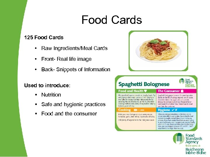 Food Cards 125 Food Cards • Raw Ingredients/Meal Cards • Front- Real life image