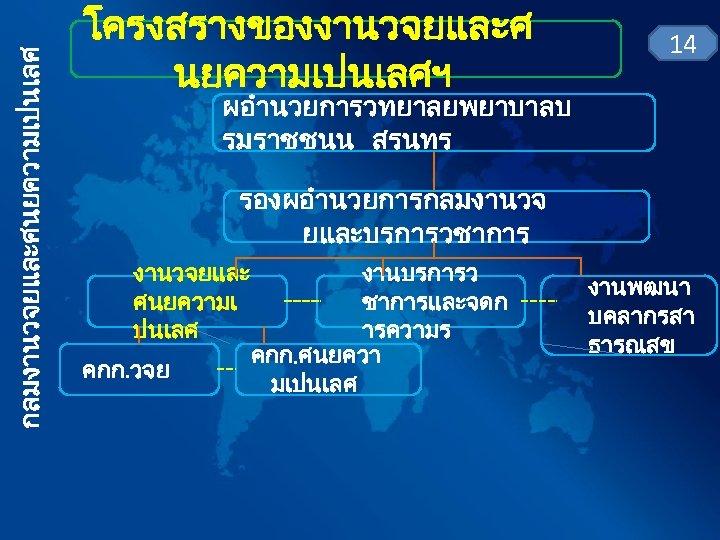 กลมงานวจยและศนยความเปนเลศ โครงสรางของงานวจยและศ นยความเปนเลศฯ 14 ผอำนวยการวทยาลยพยาบาลบ รมราชชนน สรนทร รองผอำนวยการกลมงานวจ ยและบรการวชาการ งานวจยและ ศนยความเ ปนเลศ คกก. วจย