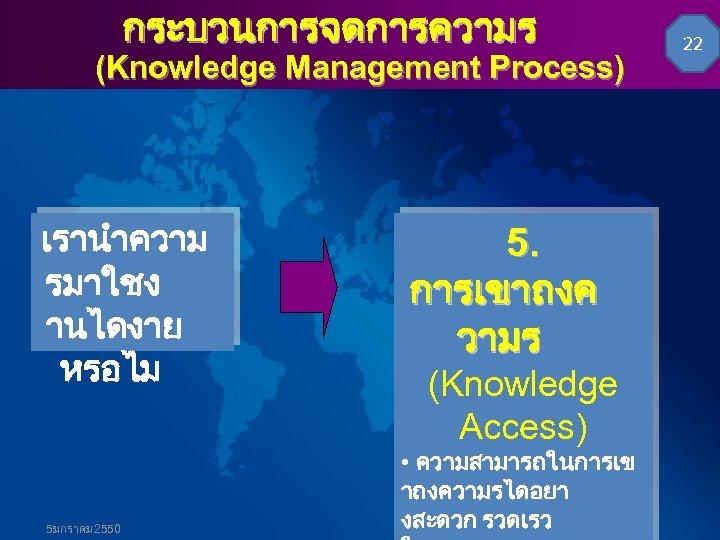 กระบวนการจดการความร (Knowledge Management Process) เรานำความ รมาใชง านไดงาย หรอไม 5มกราคม 2550 5. การเขาถงค วามร (Knowledge