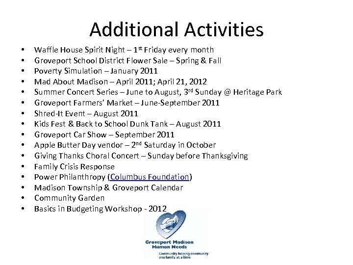 Additional Activities • • • • Waffle House Spirit Night – 1 st Friday