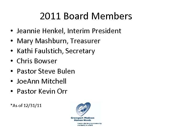 2011 Board Members • • Jeannie Henkel, Interim President Mary Mashburn, Treasurer Kathi Faulstich,