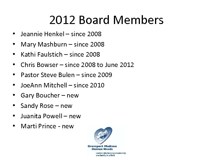 2012 Board Members • • • Jeannie Henkel – since 2008 Mary Mashburn –
