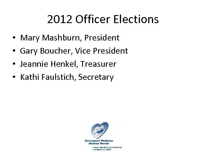 2012 Officer Elections • • Mary Mashburn, President Gary Boucher, Vice President Jeannie Henkel,
