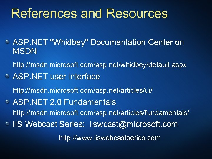 References and Resources ASP. NET