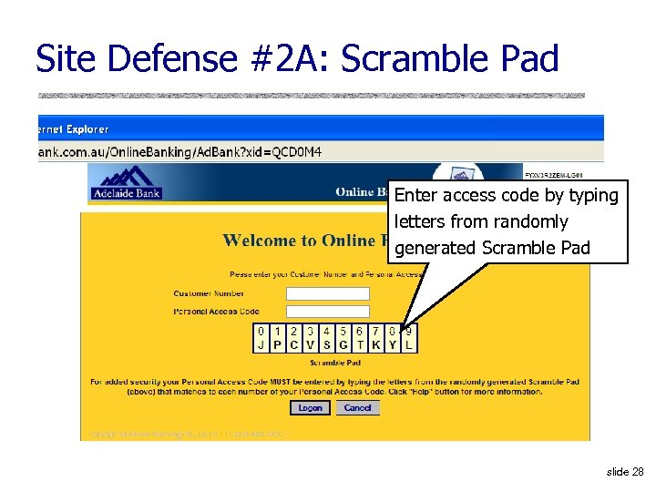 Site Defense #2 A: Scramble Pad Enter access code by typing letters from randomly