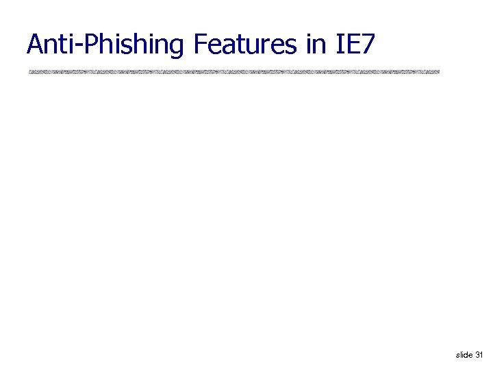 Anti-Phishing Features in IE 7 slide 31