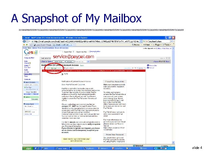 A Snapshot of My Mailbox service@paypal. com slide 4