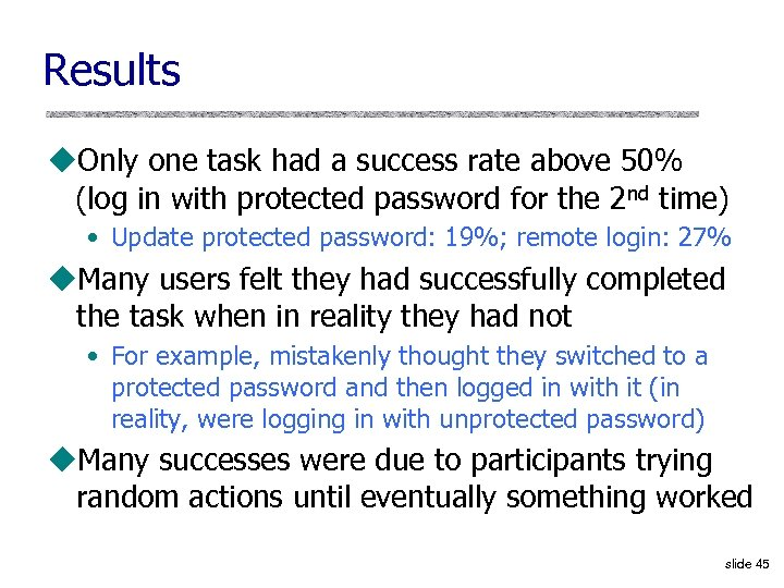 Results u. Only one task had a success rate above 50% (log in with