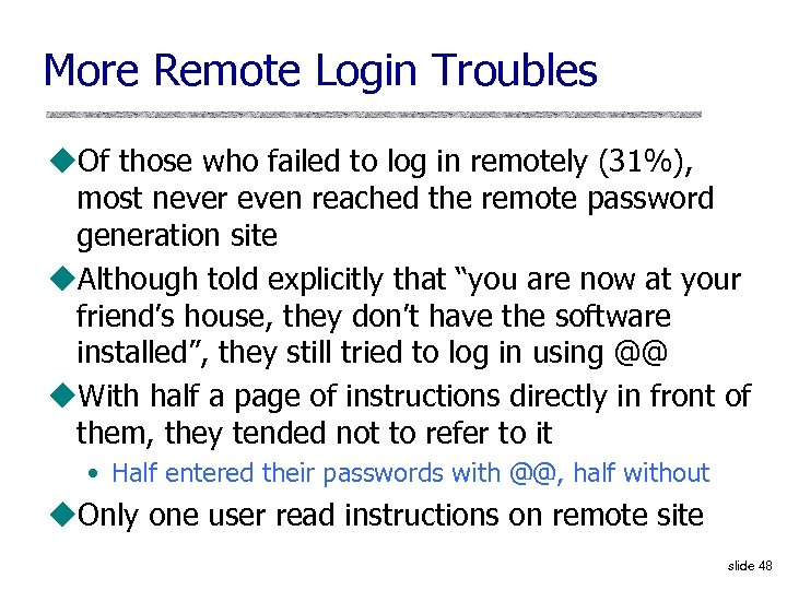 More Remote Login Troubles u. Of those who failed to log in remotely (31%),