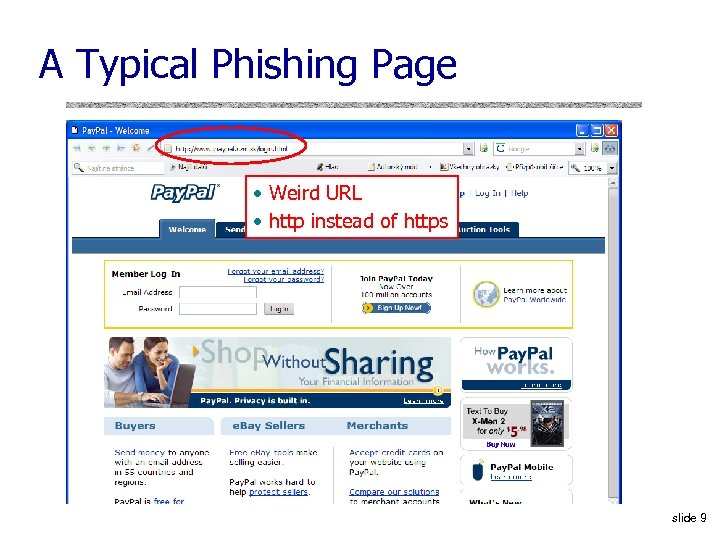 A Typical Phishing Page • Weird URL • http instead of https slide 9