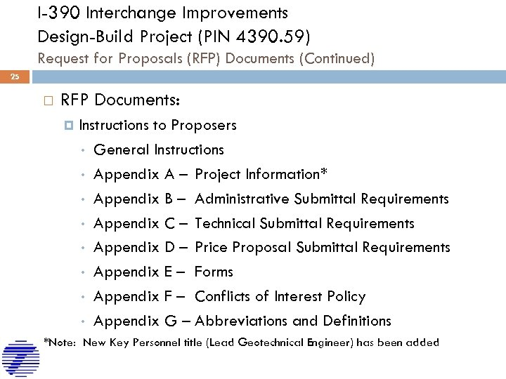 I-390 Interchange Improvements Design-Build Project (PIN 4390. 59) Request for Proposals (RFP) Documents (Continued)