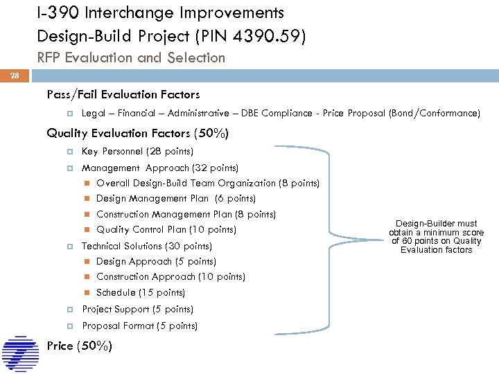 I-390 Interchange Improvements Design-Build Project (PIN 4390. 59) RFP Evaluation and Selection 28 Pass/Fail