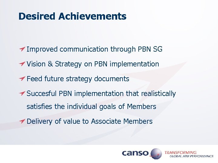 Desired Achievements Improved communication through PBN SG Vision & Strategy on PBN implementation Feed