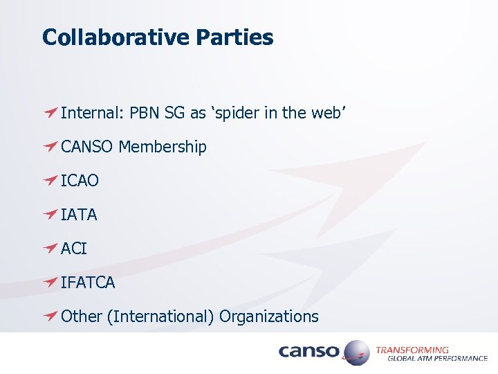 Collaborative Parties Internal: PBN SG as 'spider in the web' CANSO Membership ICAO IATA