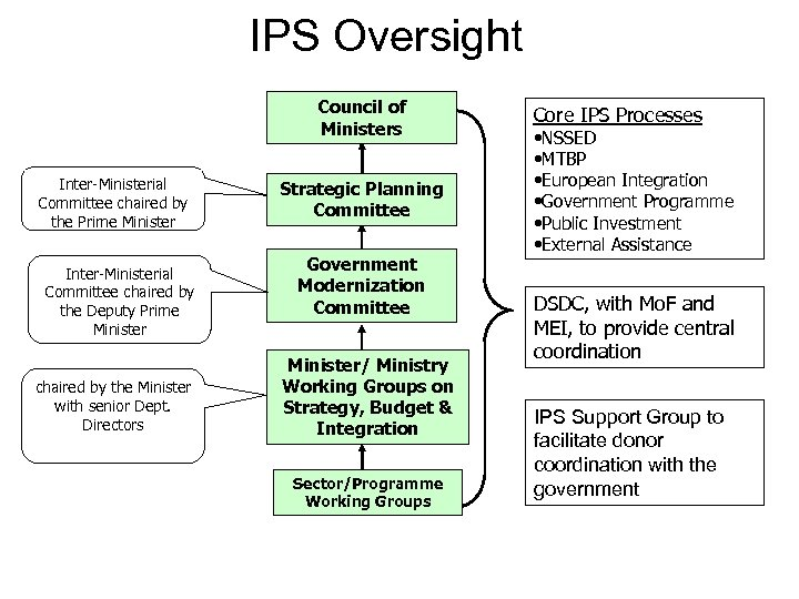 IPS Oversight Council of Ministers Inter-Ministerial Committee chaired by the Prime Minister Inter-Ministerial Committee