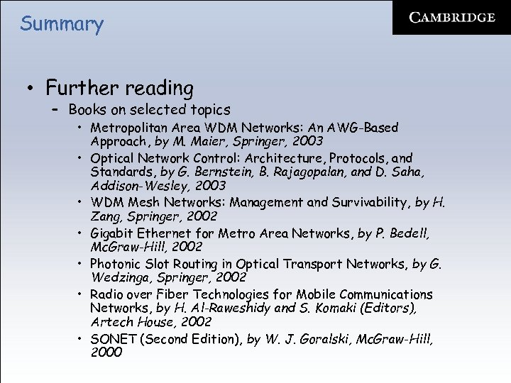 Summary • Further reading – Books on selected topics • Metropolitan Area WDM Networks: