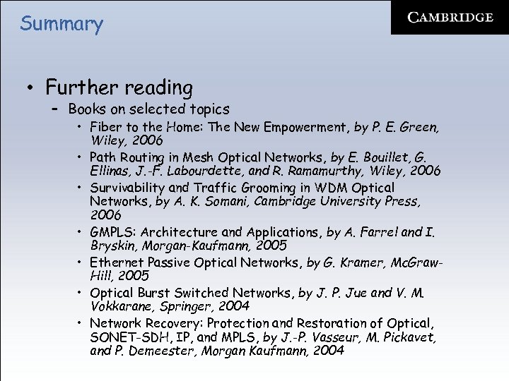 Summary • Further reading – Books on selected topics • Fiber to the Home: