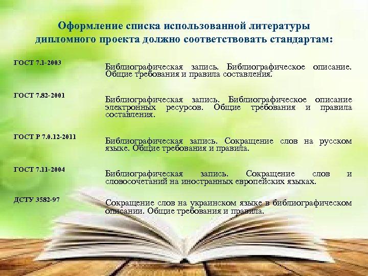 Оформление списка использованной литературы дипломного проекта должно соответствовать стандартам: ГОСТ 7. 1 -2003 Библиографическая