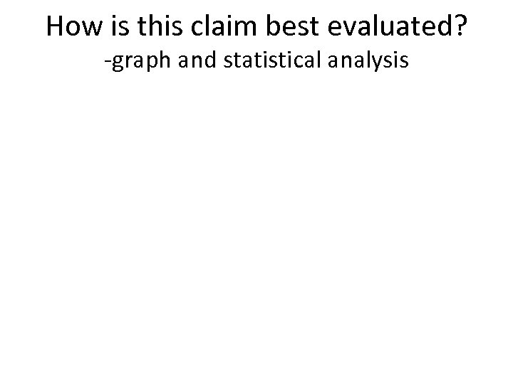 How is this claim best evaluated? -graph and statistical analysis