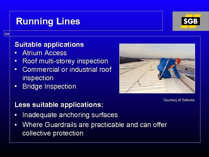 Running Lines 33 Suitable applications • Atrium Access • Roof multi-storey inspection • Commercial