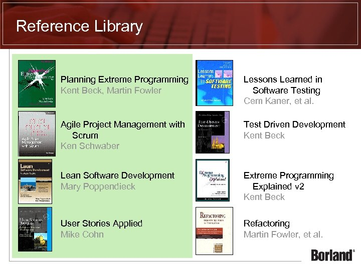 Reference Library Planning Extreme Programming Kent Beck, Martin Fowler Lessons Learned in Software Testing