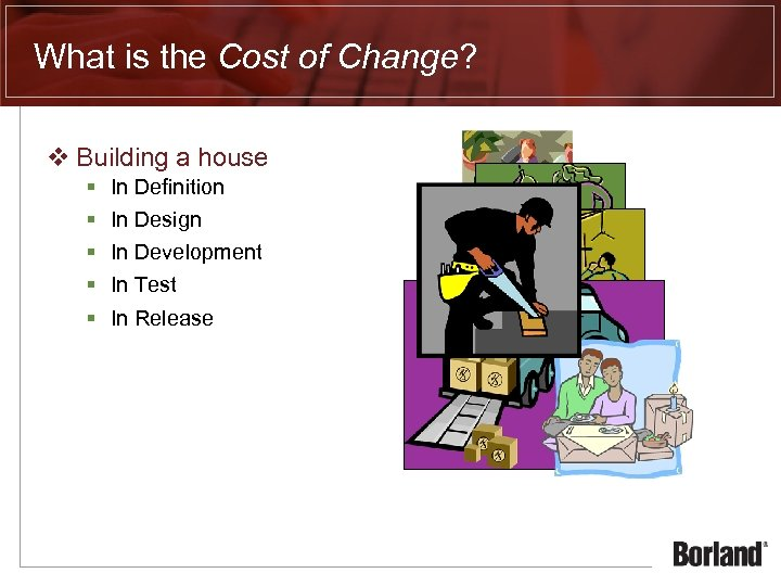 What is the Cost of Change? v Building a house § § § In