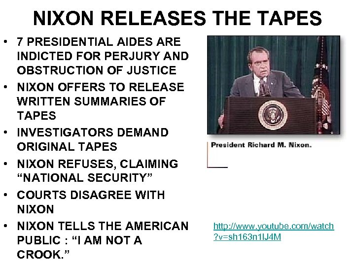 NIXON RELEASES THE TAPES • 7 PRESIDENTIAL AIDES ARE INDICTED FOR PERJURY AND OBSTRUCTION